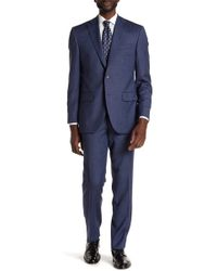 David Donahue - Blue Jacquard Two Button Notch Lapel Wool Classic Fit Suit - Lyst