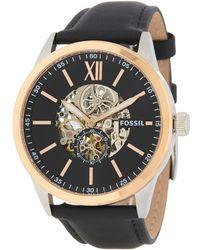 Fossil - Men's Flynn Mechanical Leather Strap Watch, 48mm - Lyst