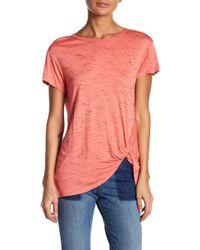 Bobeau - Heathered Knot Front Knit Tee - Lyst