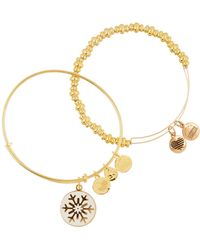 ALEX AND ANI - 14k Gold Plated Snowflake Holiday Bangle Set - Lyst
