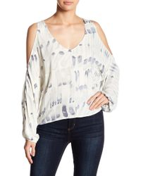 Love Stitch - Long Sleeve Cold Shoulder Print Blouse - Lyst
