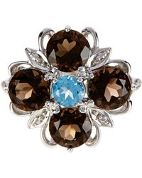 Liberty - Sterling Silver Multi Gemstone Flower Ring - Lyst
