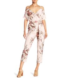 Haute Rogue - Cold Shoulder Floral Jumpsuit - Lyst