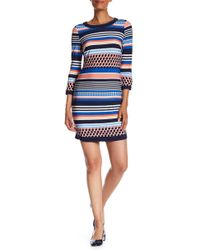 Vince Camuto - Dotted Stripe Jersey Dress - Lyst