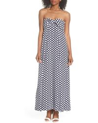 J.Crew - Strapless Dot Tie Front Maxi Dress - Lyst
