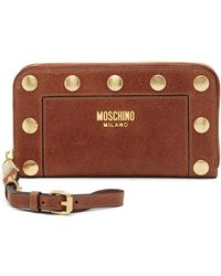Moschino - Studded Leather Zip-around Wallet - Lyst