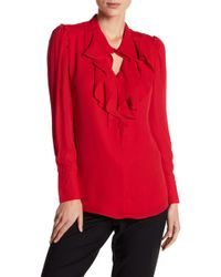 Catherine Malandrino - V-neck Long Sleeve Blouse - Lyst