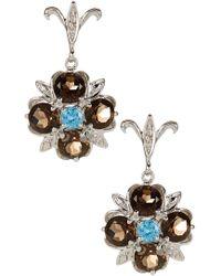 Liberty - Sterling Silver Multi Gemstone Flower Stud Earrings - Lyst