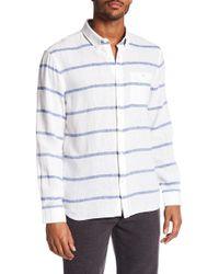 Jack Spade - Striped Linen Blend Long Sleeve Shirt - Lyst