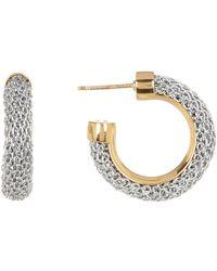 Adami & Martucci - Two-tone Woven Chain 29mm Hoop Earrings - Lyst