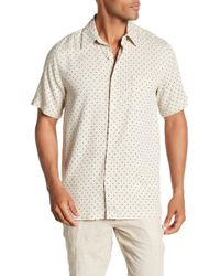 Tocco Toscano - Short Sleeve Silk Micro Print Woven Shirt - Lyst