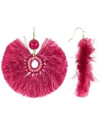 Panacea - Magenta Stone Fringe Statement Earrings - Lyst
