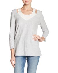 Two By Vince Camuto - 3/4 Sleeve Layered V-neck Tee - Lyst