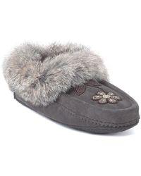 Manitobah Mukluks - Metis Genuine Rabbit Fur & Sheepskin Footbed Moccasin - Lyst