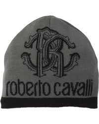 Roberto Cavalli - Monogrammed Logo Wool Blend Beanie - Lyst