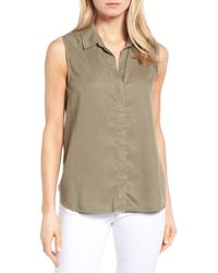 NYDJ - Vera Button Back Sleeveless Shirt - Lyst