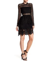 Romeo and Juliet Couture | Mock Neck Long Sleeve Crochet Knit Dress | Lyst