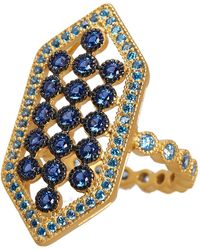 Freida Rothman - Modern Mosaic Geo Shape Cz Embellished Cocktail Ring - Size 5 - Lyst