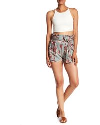 Angie - Printed Paperbag Waist Tie Shorts - Lyst