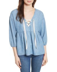 Joie - Bealette Lace-up Chambray Top - Lyst