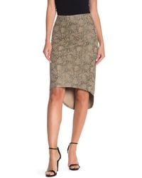 Level 99 - Elle Faux Suede Snake Print Bodycon Skirt - Lyst