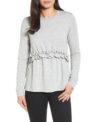 Halogen - (r) Ruffle Sweatshirt (regular & Petite) - Lyst