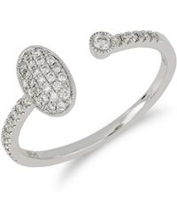 Bony Levy - 18k White Gold Bezel & Pave Diamond Cuff Ring - Lyst