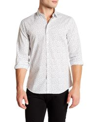 Calibrate - White Black Rain Print Slim Fit Shirt - Lyst