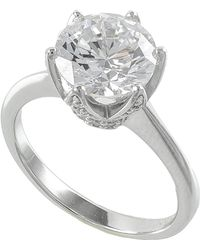 Kenneth Jay Lane - Pave Crown Cz Solitaire Ring - Lyst