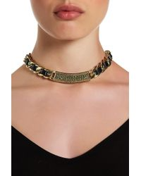 House of Harlow 1960 - Studded Bar & Faux Leather Weaved Rolo Chain Necklace - Lyst