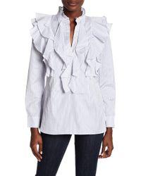 BCBGMAXAZRIA - Ruffle Pinstripe Shirt - Lyst