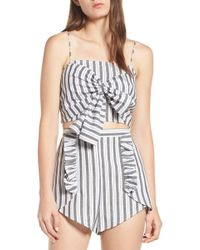 The Fifth Label - Acacia Stripe Knotted Crop Top - Lyst