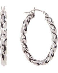 Sevil Jewelry - Sterling Silver Twisted Oval Hoop Earrings - Lyst