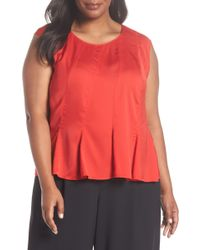 Sejour - Pleated Top (plus Size) - Lyst