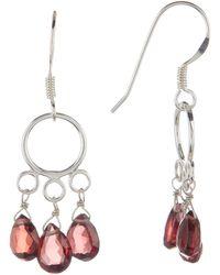 Peyote Bird - Sterling Silver Garnet Drop Earrings - Lyst