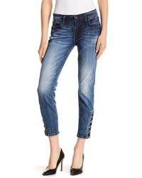 Miss Me - Lace-up Hem Skinny Jeans - Lyst