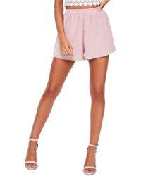 Missguided - Elastic Waist Crepe Shorts - Lyst