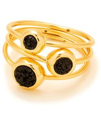 Gorjana - Black Druzy Astoria Ring - Set Of 3 - Size 7 - Lyst