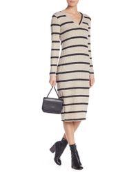 Lush - Striped Ribbed Midi Bodycon Dress - Lyst