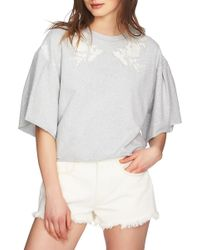1.STATE - Embroidered Crop French Terry Sweatshirt - Lyst