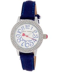Betsey Johnson - Women's Crystal Embellished Genuine Calf Hair Strap Watch, 33mm - Lyst