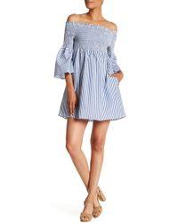 Sanctuary - Smocked Off-the-shoulder Pinstripe Dress - Lyst