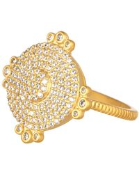 Freida Rothman - 14k Yellow Gold Plated Sterling Silver Amazonian Allure Pave Cz Disc Ring - Size 7 - Lyst