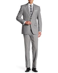 Perry Ellis - Grey Plaid Two Button Notch Lapel Modern Fit Suit - Lyst