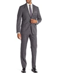 Hickey Freeman - Gray Windowpane Two Button Notch Lapel Wool Classic Fit Suit - Lyst