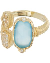 Judith Ripka - 14k Gold Plated Sterling Silver Gold Coast Gemstone & Double Pave Station Ring - Size 7 - Lyst