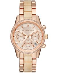 MICHAEL Michael Kors - Women's Ritz Rose Gold-tone And Champagne Acetate Chronograph Watch - Lyst