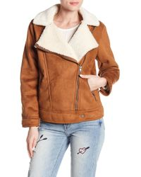 Lucky Brand - Faux Suede & Faux Shearling Moto Jacket - Lyst