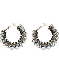 Saachi - Wire-wrapped Beaded Hoop Earrings - Lyst