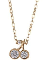 Nadri - 18k Gold Plated Brass Cz Cherry Pendant Necklace - Lyst